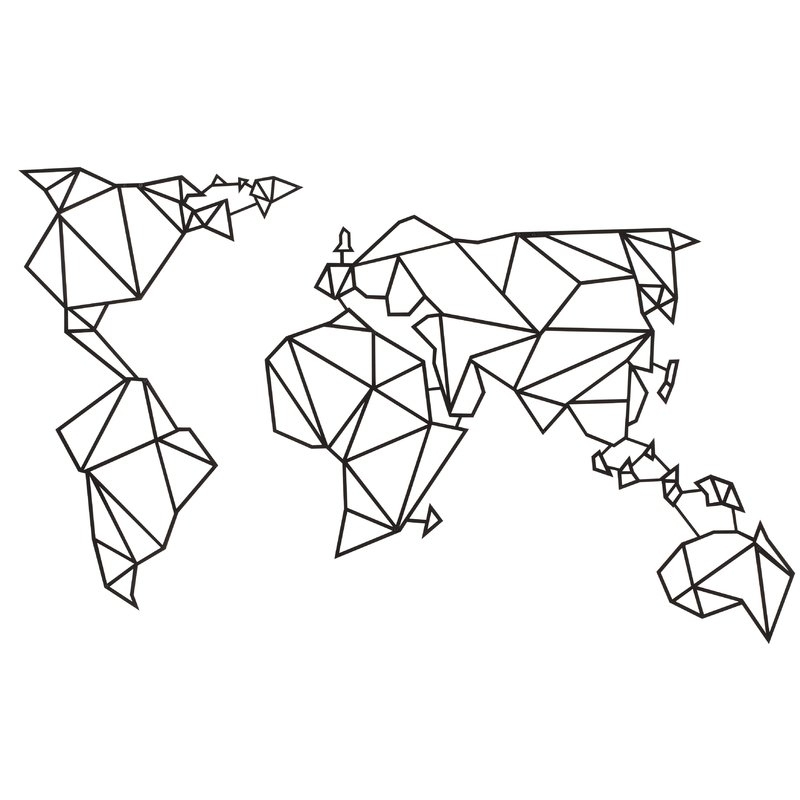 Hokku Designs World Map Geometric Metal Wall Décor | Wayfair.co (Image 4 of 10)