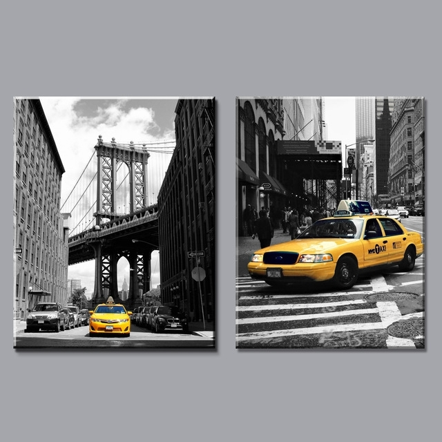 Home Decor Modern Canvas Painting New York City Pictures Black And Inside New York Wall Art (Photo 4 of 10)