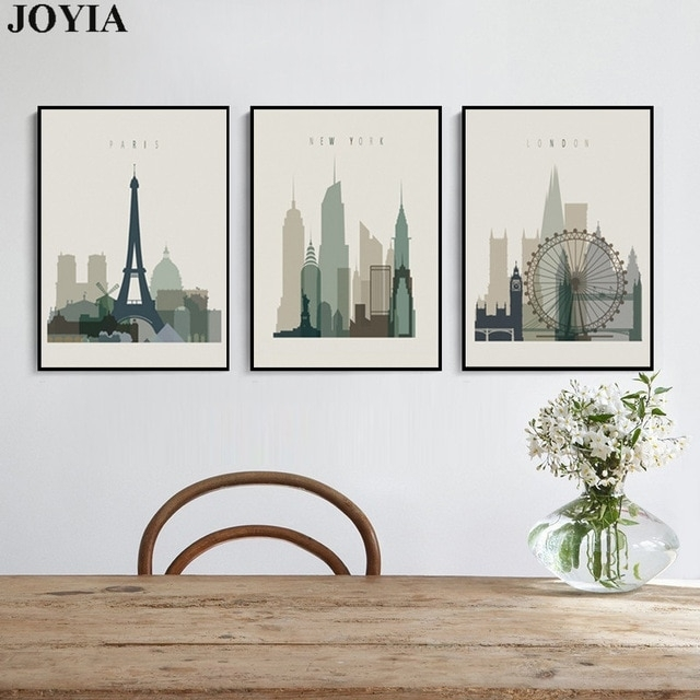Home Decor Wall Art Abstract City Silhouette Retro Canvas Pictures Pertaining To Decorative Wall Art (Image 5 of 10)