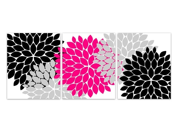 Home Decor Wall Art, Instant Download Pink And Black Flower Burst Within Pink Wall Art (Photo 3 of 10)