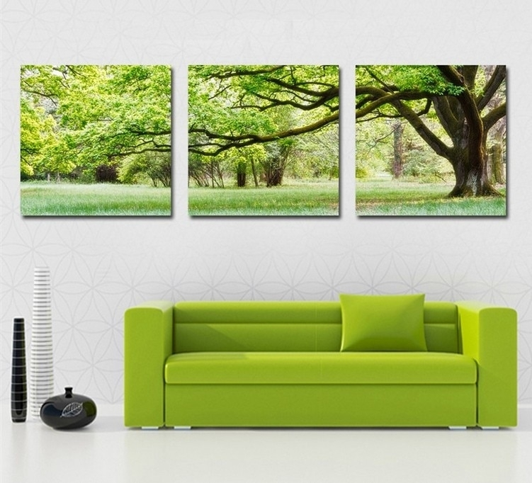 Home Decoration 3 Piece Canvas Wall Art Tree Picture Canvas Painting Regarding Green Wall Art (Photo 9 of 10)