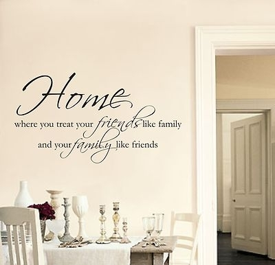 Home Friends Family Wall Art Sticker Quote Living Room Hallway With Regard To Quote Wall Art (View 6 of 10)