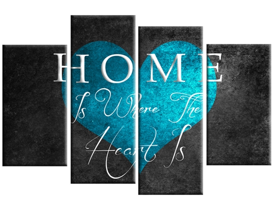 Home Is Where The Heart Is Canvas Wall Art Print 40 Inch Turquoise Grey Within Teal Wall Art (Image 2 of 10)
