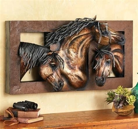 Horse Wall Art Wild Horses Metallic Metal Running – Thewinerun With Regard To Horses Wall Art (Image 5 of 10)