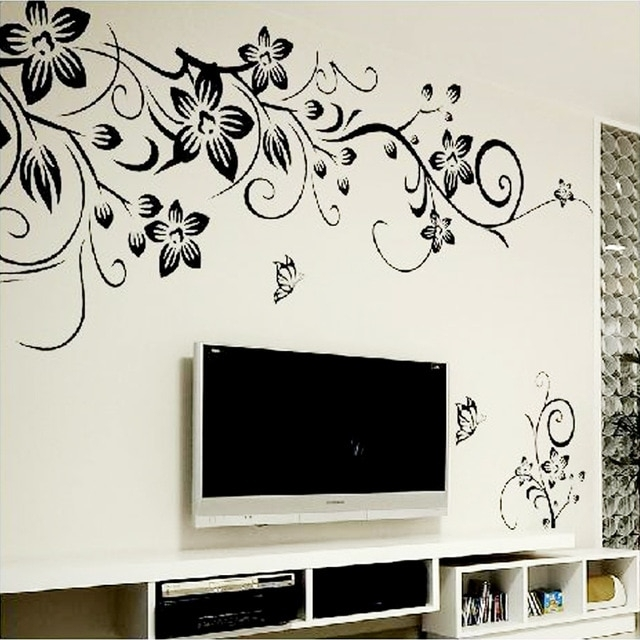 Hot Diy Wall Art Decal Decoration Fashion Romantic Flower Wall Throughout Wall Sticker Art (Photo 10 of 10)