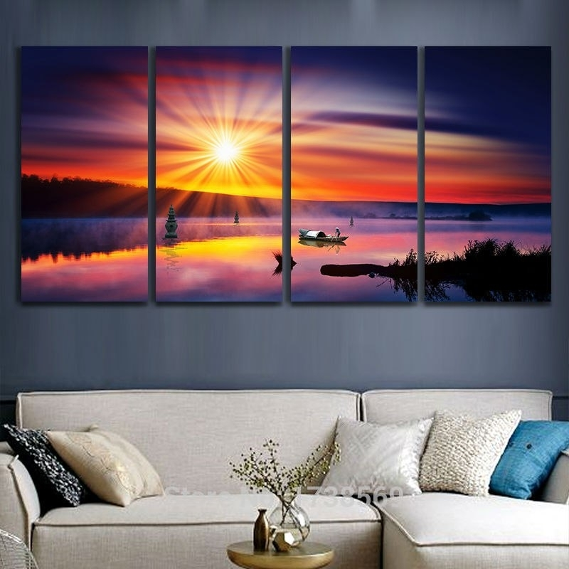 Hot Sale 4Pcs Ocean Canvas Art Printed Painting Oil Painting On In Ocean Wall Art (Photo 4 of 10)