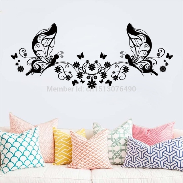 Hot Sellings 114*46Cm Classical Black Flower Butterfly Wall Art Intended For Butterfly Wall Art (Image 6 of 10)