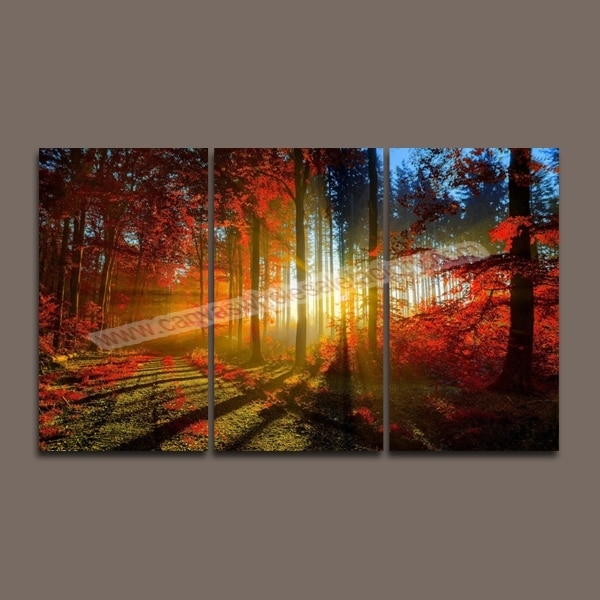 Hot Unframed Wall Art Canvas Painting 3 Piece Canvas Art Prints Red Throughout Multi Piece Wall Art (Image 6 of 10)