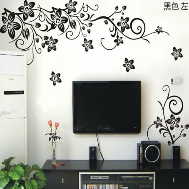 Hot Vine Wall Stickers Flower Wall Decal Removable Art Pvc Home Pertaining To Wall Sticker Art (Photo 4 of 10)