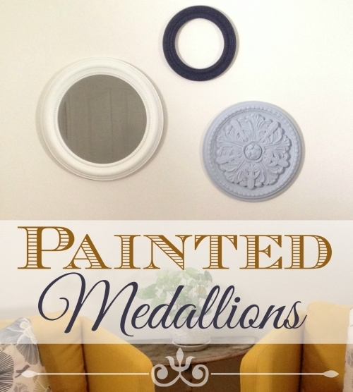 How To Make Painted Medallions Wall Decor – The Crafty Blog Stalker Regarding Ceiling Medallion Wall Art (Image 5 of 10)