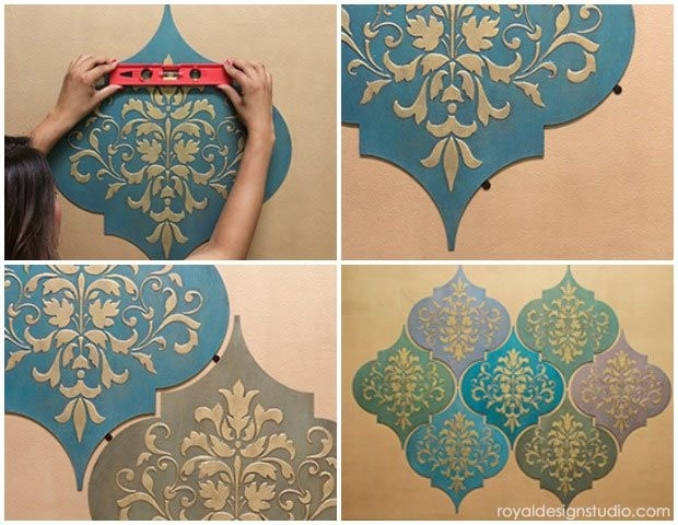 How To Stencil Moroccan Dreams Wall Art Wood Shapes Wall Decor Throughout Moroccan Wall Art (Image 5 of 10)