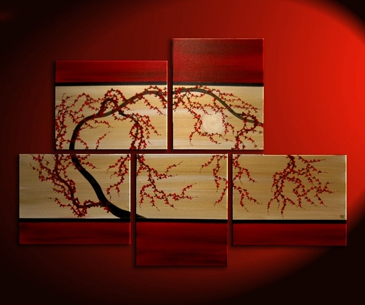 Huge Zen Wall Art Red And Gold Large Painting Contemporary Abstract In Red Wall Art (Image 6 of 10)