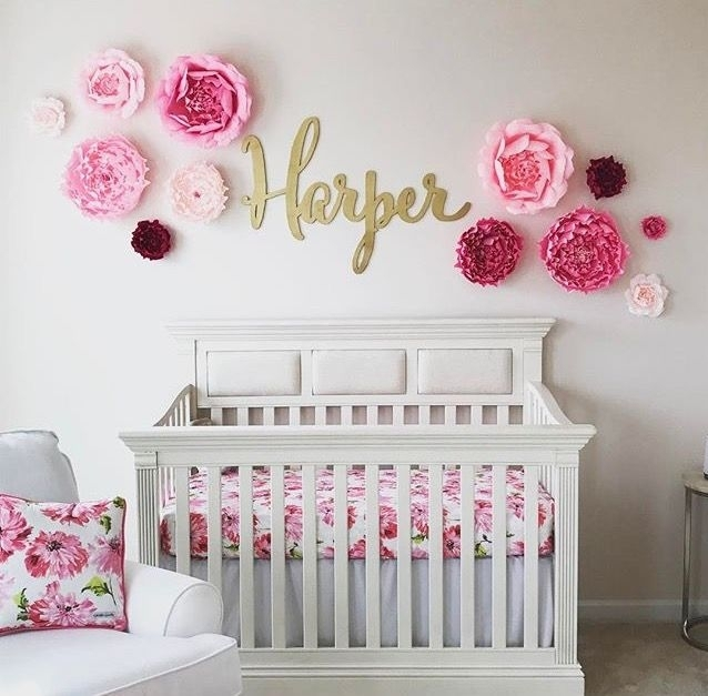 I Love This Adorable Nursery! The Custom Name Sign Is Madethe Within Name Wall Art (Photo 3 of 10)