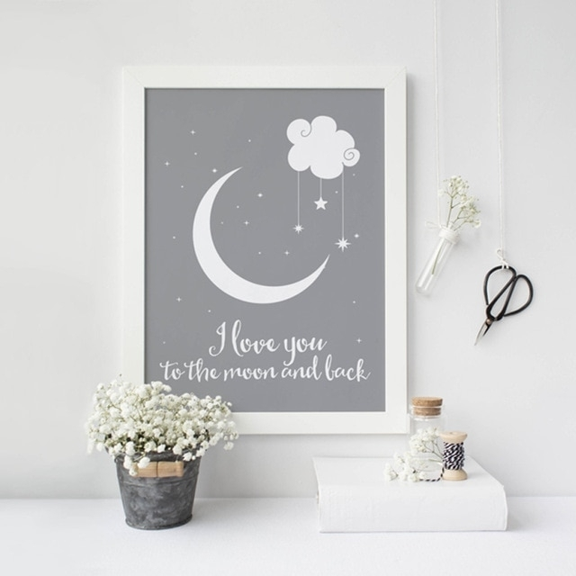 I Love You To The Moon And Back Classic Poster Canvas Paintings With Regard To I Love You To The Moon And Back Wall Art (Photo 4 of 10)