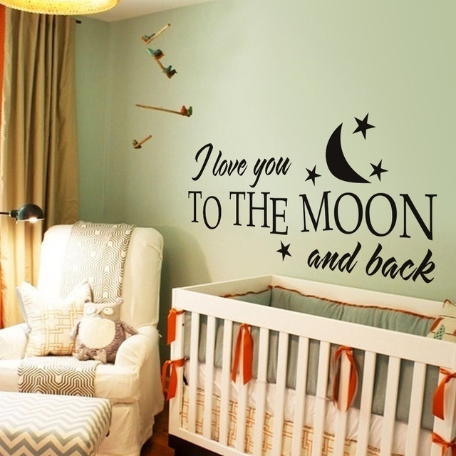 I Love You To The Moon And Back Romantic Love Vinyl Wall Decal For I Love You To The Moon And Back Wall Art (View 8 of 10)