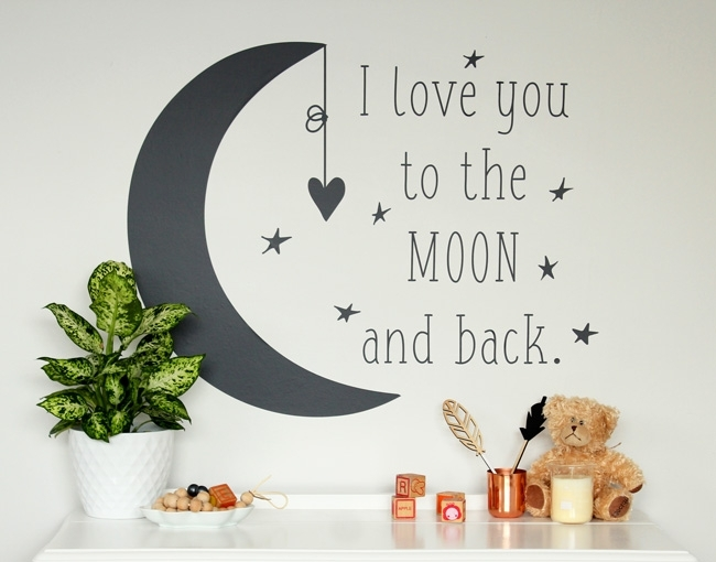 I Love You To The Moon And Back – Your Decal Shop | Nz Designer Wall Within I Love You To The Moon And Back Wall Art (Photo 2 of 10)