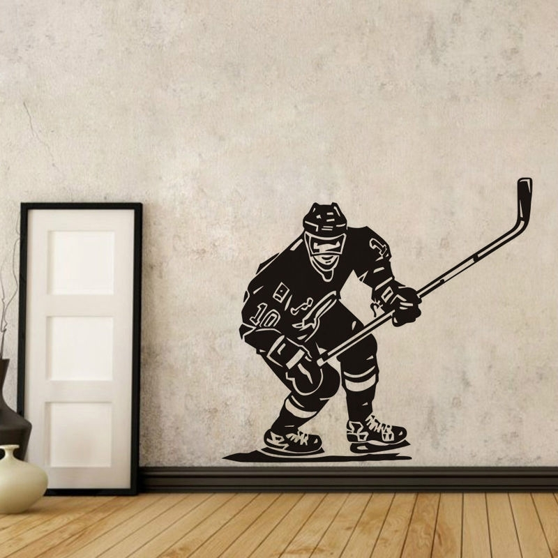 Ice Hockey Player Wall Stickers Nhl Sport Boy Room Mural Decor Wall Inside Hockey Wall Art (Image 8 of 10)