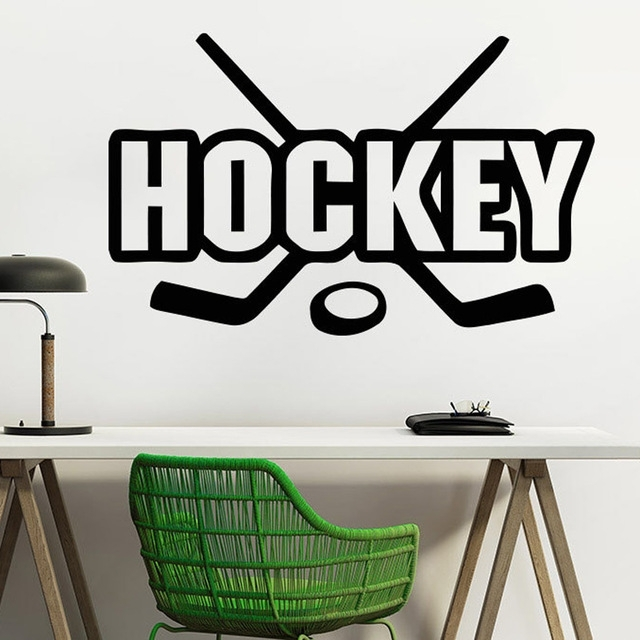 Ice Hockey Wall Decals Hockey Player Sport Gym Wall Decor Boy Room For Hockey Wall Art (Image 9 of 10)