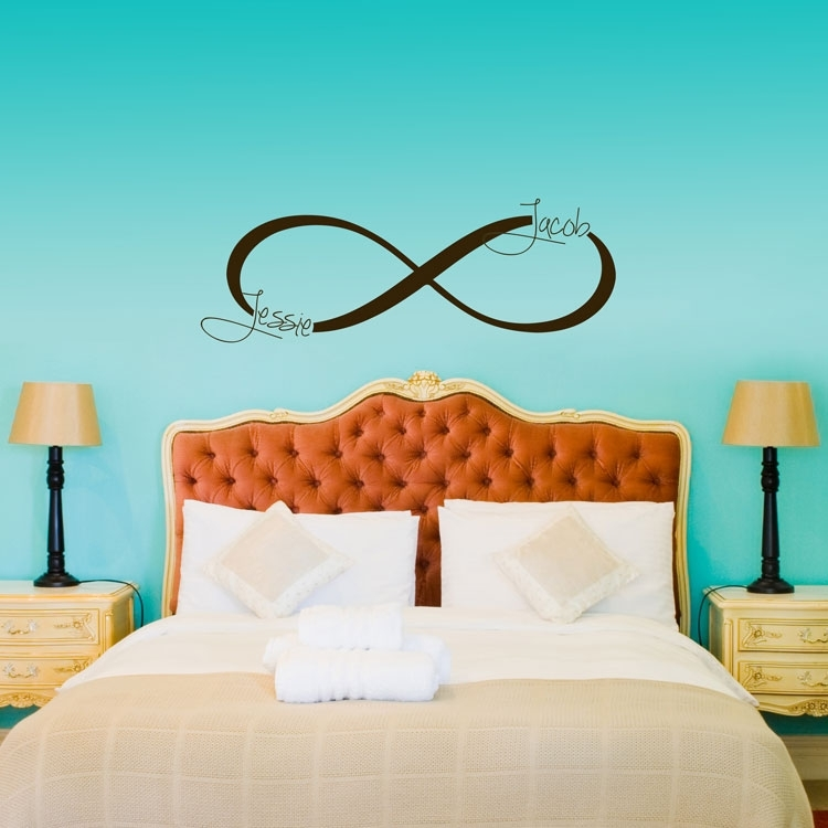 Infinity Symbol Monogram – Personalized Custom Wall Decals Regarding Custom Wall Art (Photo 6 of 10)