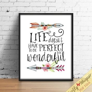 Inspirational Quote Wall Art Print, Tribal Wall Art, Canvas Quote Within Inspirational Quotes Wall Art (View 2 of 10)