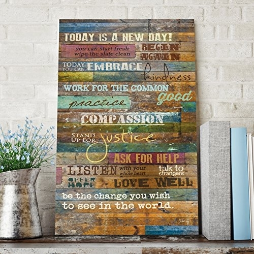 Inspirational Quotes Wall Art – Today Is A New Daymarla Rae 12 X Intended For Wood Wall Art Quotes (Image 6 of 10)