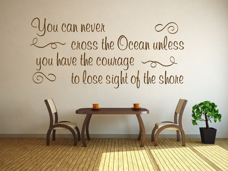 Inspirational Wall Quote Cross The Ocean Vinyl Sticker Wall Home Pertaining To Inspirational Wall Art (View 10 of 10)