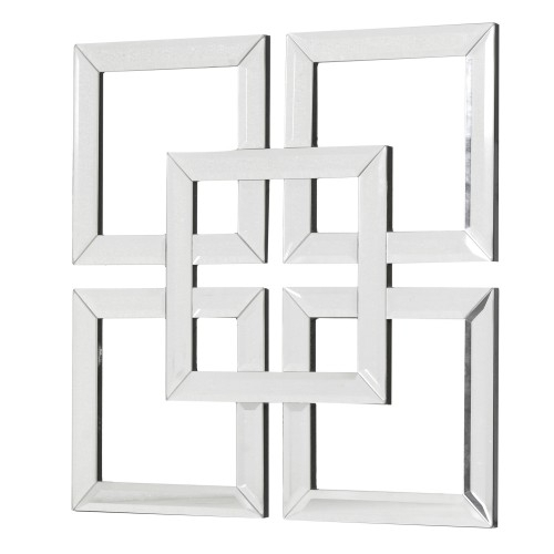 Interlocking Squares Mirror Art Pertaining To Mirrored Wall Art (Image 3 of 10)