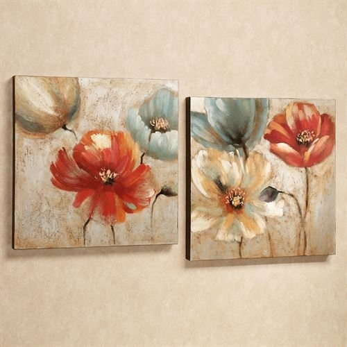 Joyful Garden Floral Canvas Wall Art Set Pertaining To Floral Wall Art (Image 5 of 10)