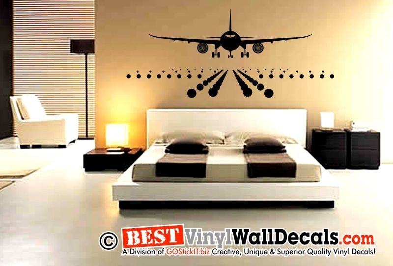 Jumbo Airplane Aircraft Landing Decal | Bestvinylwallart In Aviation Wall Art (Photo 2 of 10)