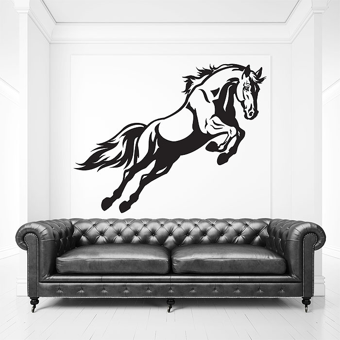Jumping Horse Vinyl Wall Art Decal Regarding Horse Wall Art (Photo 10 of 10)