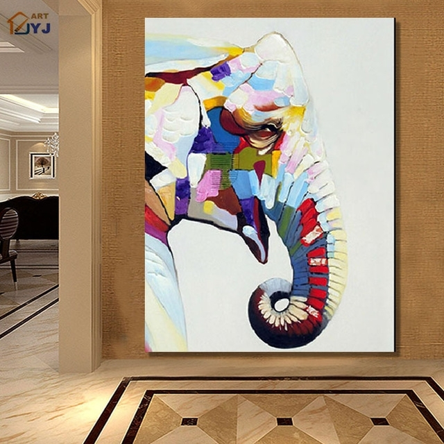 Jyj Quality Cartoon Elephant Canvas Wall Art Picture Handpainted With Regard To Elephant Canvas Wall Art (View 7 of 10)