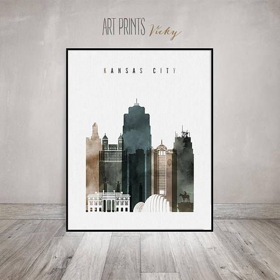 Kansas City Print Watercolor Poster Kansas City Wall Art | City Within Kansas City Wall Art (Image 3 of 10)