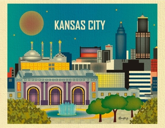 Kansas City Skyline Art Print Kansas City Wall Art Kansas | Etsy Pertaining To Kansas City Wall Art (Image 4 of 10)