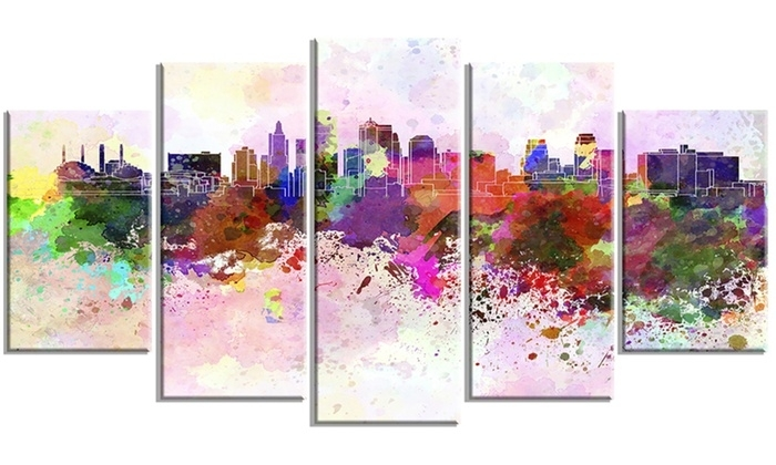 Kansas City Skyline Cityscape Metal Wall Art 60X32 5 Panels | Groupon Within Kansas City Wall Art (Image 6 of 10)