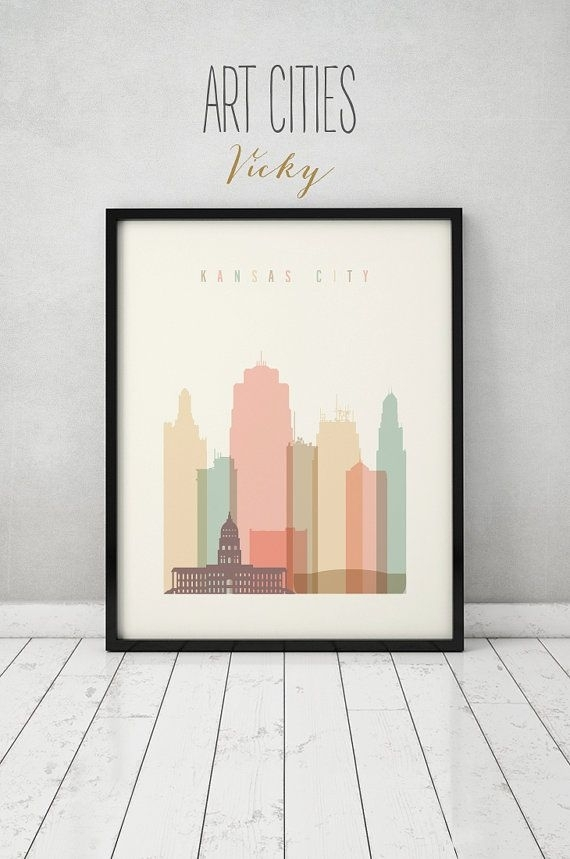 Kansas City Wall Art, Kansas City Print, Kansas City Skyline, Poster In Kansas City Wall Art (Image 8 of 10)