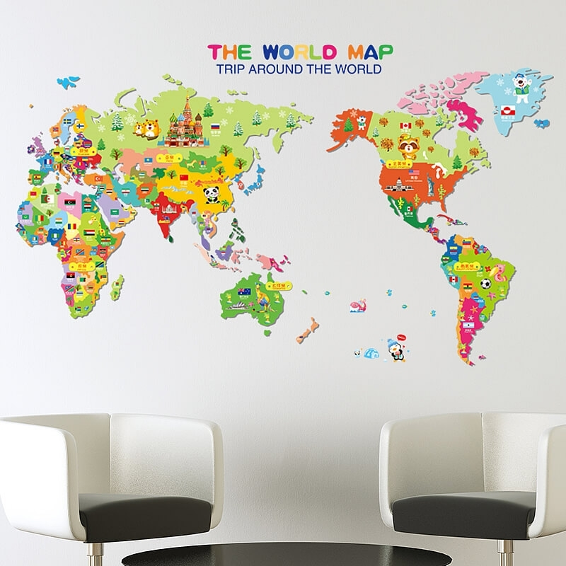 Kids World Map Wall Stickers Luxury World Map Vinyl Wall Sticker Within Vinyl Wall Art World Map (View 3 of 10)