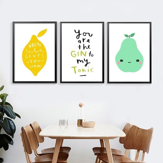 Kitchen Nordic Canvas Prints Wall Art Decor Fresh Fruit And Kawaii In Lemon Wall Art (Image 3 of 10)