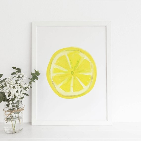 Kitchen Print Lemon Slice Art Lemon Print Lemon Wall Art Regarding Lemon Wall Art (Image 4 of 10)