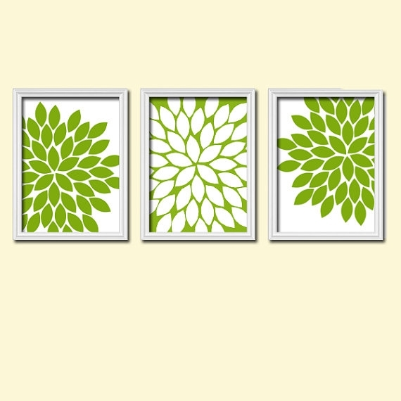 Kitchen Wall Art Canvas Or Prints Apple Green White Flower Burst Within Green Wall Art (Image 10 of 10)