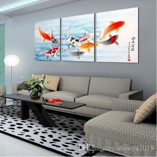Koi Fish Wall Art Chinese Painting Wall Art On Canvas Home Decor Within Fish Painting Wall Art (Image 9 of 10)