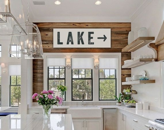 Lake Sign Arrow Large Canvas, Lake House Decor, Fixer Upper Decor Intended For Lake House Wall Art (Photo 2 of 10)
