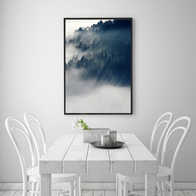 Landscape Cloud Forest Nordic Style Popular Canvas Print Painting Inside Popular Wall Art (Image 6 of 10)