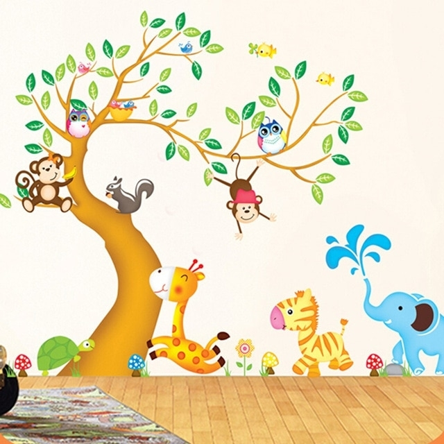 Large Animal Tree Nursery Wall Stickers For Kids Rooms Removable 3D With Kids Wall Art (Photo 7 of 10)