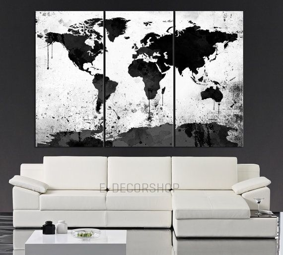 Large Black White World Map Canvas Print – 3 Piece Watercolor Splash Within Black And White Large Canvas Wall Art (Image 9 of 10)