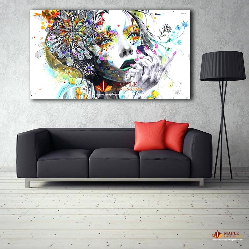 Large Canvas Painting Modern Wall Art Girl With Flowers Oil Printed With Regard To Large Canvas Painting Wall Art (Photo 6 of 10)