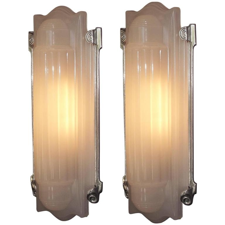 Large Elegant Art Deco Wall Sconces Home Theater At 1Stdibs With Art Deco Wall Sconces (Photo 6 of 10)