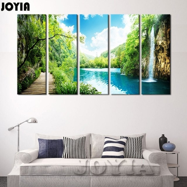 Large Landscape Print 5 Panel Waterfall Painting Canvas Wall Art For Large Framed Canvas Wall Art (Image 6 of 10)
