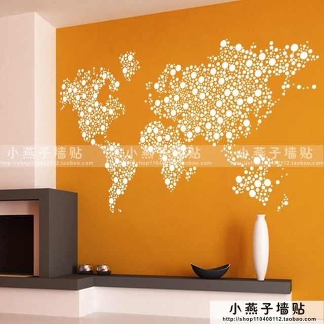 Large New Design Art Pattern Creative World Map Wall Stickers World Regarding Wall Art Stickers World Map (Photo 8 of 10)