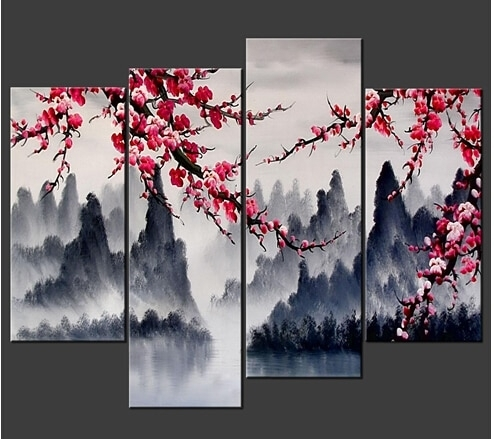 Large Painting Chinese Wall Art Framed 4 Panel Interior Decoration For Chinese Wall Art (Photo 1 of 10)