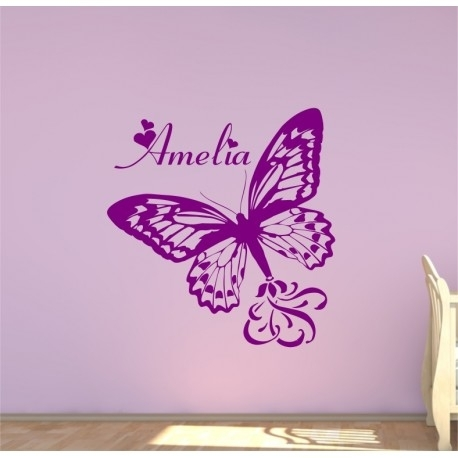 Large Personalised Butterfly With A Childs Name Bedroom Wall Sticker (Image 8 of 10)